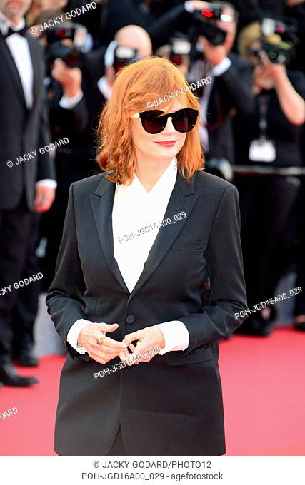 Susan Sarandon Opening ceremony, red carpet 69th Cannes Film Festival May 11, 2016 She wears a suit designed by Yves Saint-Laurent. Jewels by Dauphin