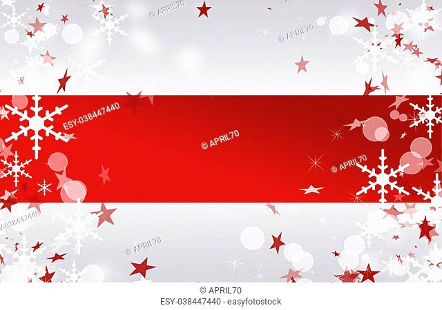 Red stripe with stars, bokeh and snowflakes background