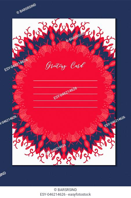 Business mandala card template. Oriental ethnic pattern. Mehndi ornament page for brochure, flyer, greeting, invitation cover