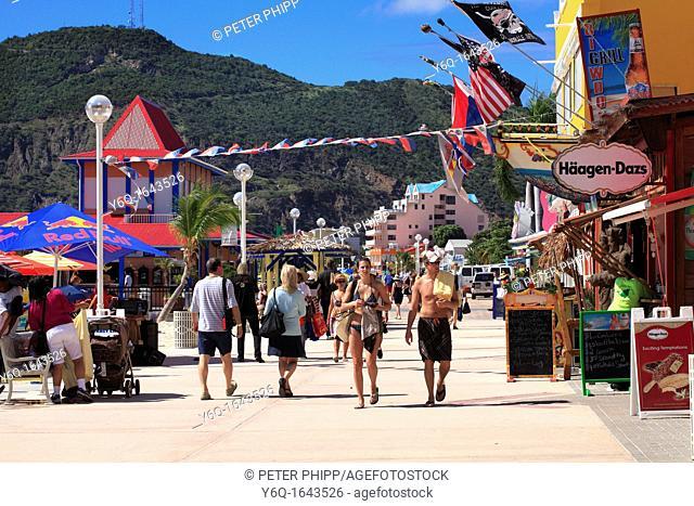 Promenade and Beach at Philipsburg in St  Maarten  Dutch Caribbean