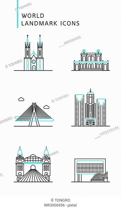 Icons of landmarks in Brazil