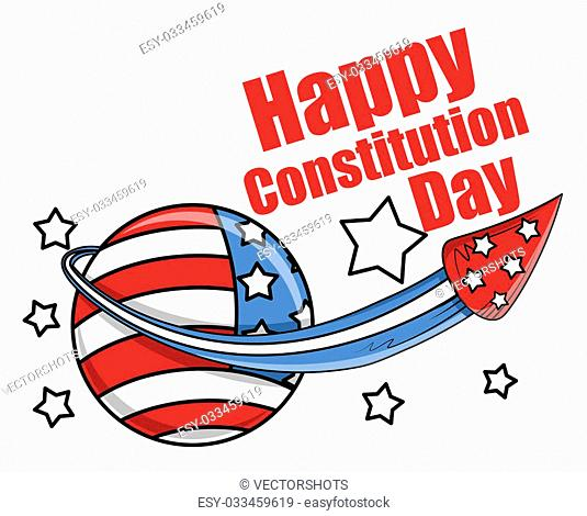 Drawing Art of celebration with fireworks - Constitution Day Vector Illustration