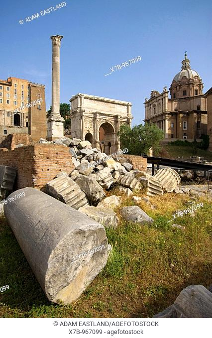 Rome  Italy  The Roman Forum Foro Romano  L-R, Column of Phocus, Arch of Septimius Severus, the church of Santi Luca e Martina