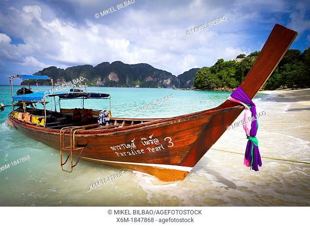 Longtail boat on Long beach  Phi Phi Don island  Krabi province, Andaman Sea, Thailand