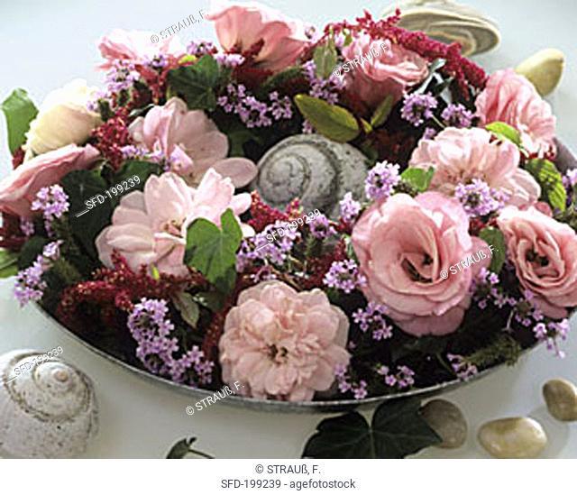 Wreath of roses, Lisianthus, Amaranthus and Verbena