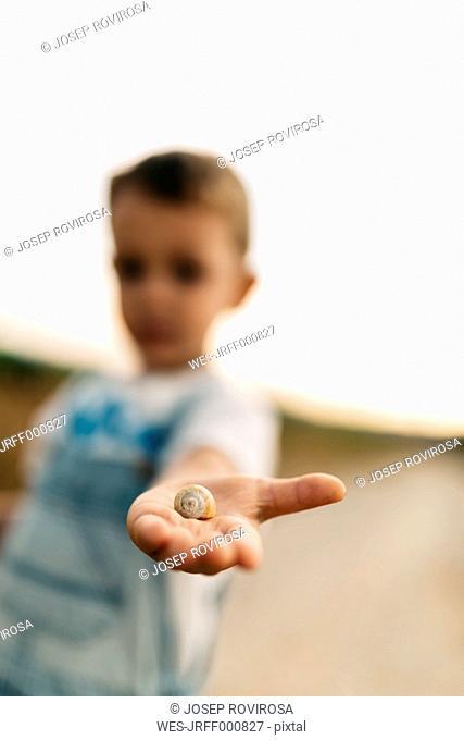 Snail on little boy's palm