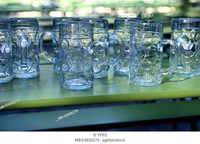 Beer garden, table, detail, beer mugs, empty,    Locally, restaurant, terrace, beer tent table, wood table, beer glasses, steins, symbol, finished closing time