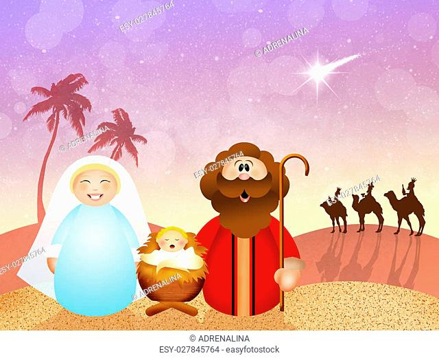 illustration of Christmas Nativity scene