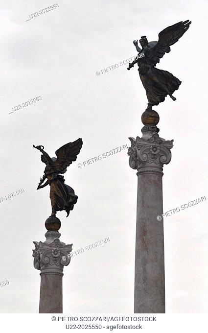Roma, Italy, columns facing the Altare della Patria, in Piazza Venezia