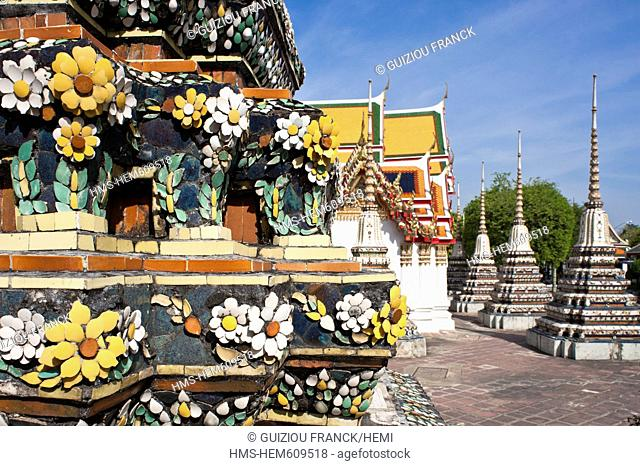 Thailand, Bangkok, Ko Ratanakosin district houses the most famous sites in Bangkok, Wat Pho is the oldest and largest temples in Bangkok
