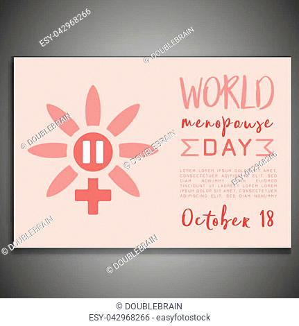 October 18 - World menopause day. Horizontal poster in modern style. Editable vector illustration in pink colors isolated on a grey background