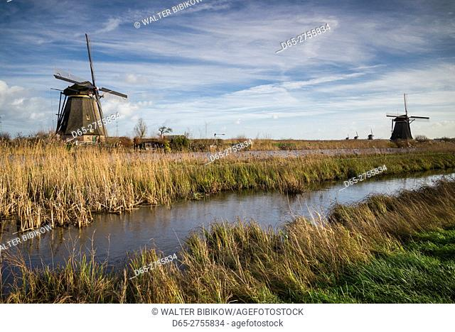 Netherlands, Kinderdijk, Traditional Dutch windmills