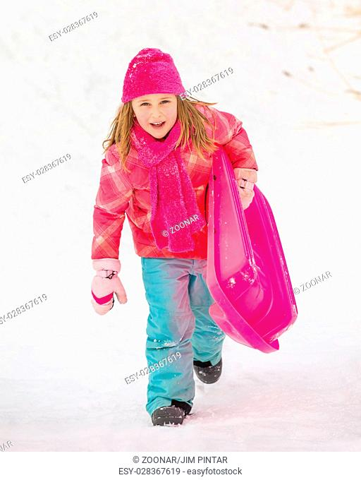 Sledding Girl - Climbing Up Hill
