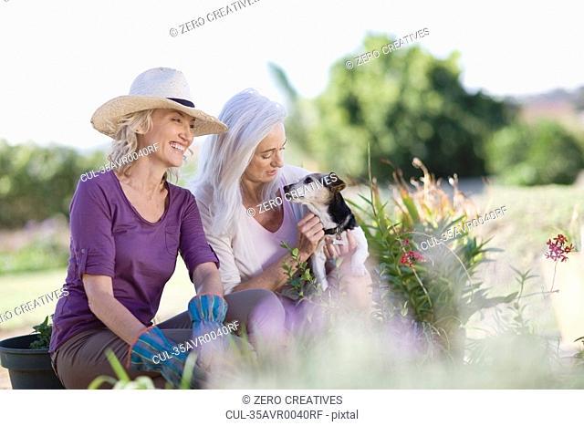 Older women examining garden together