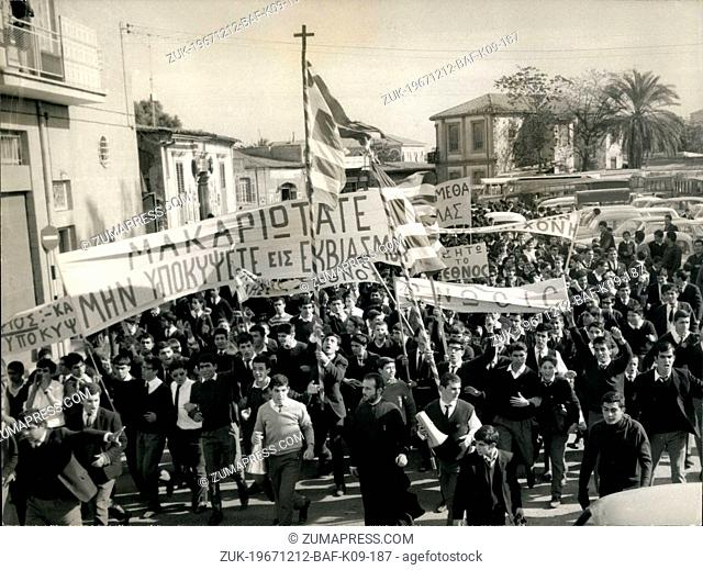 Dec. 12, 1967 - Last Friday, while the first Greek soldiers left the island of Cyprus, students in Nicosie went on strike and organized a protest