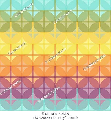 Seamless colorful abstract modern pattern created from circle and line intersections