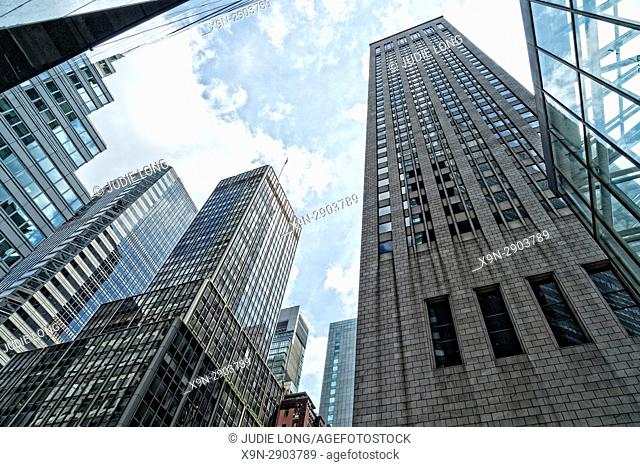 New York City, Manhattan. Looking Up at Skyscraper Office Buildings at East 56th and Madison Avenue