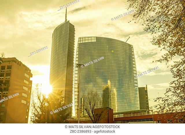 Skyscrapers with sunshine in Porta Nuova in Milan, Italy