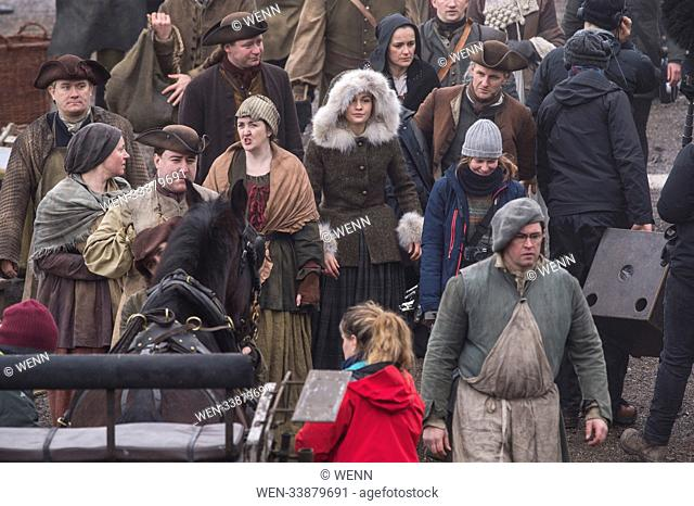 Outlander film crew and actors are spotted filming at a harbour in Dunure Scotland for Season 4. Featuring: Sophie Skelton Where: Dunure