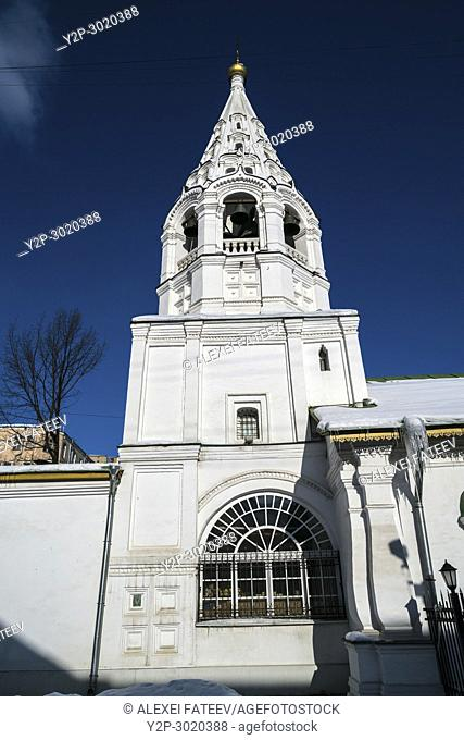Tent-like belltower of the Church of Transfiguration of Jesus on the Sand in Moscow, Russia