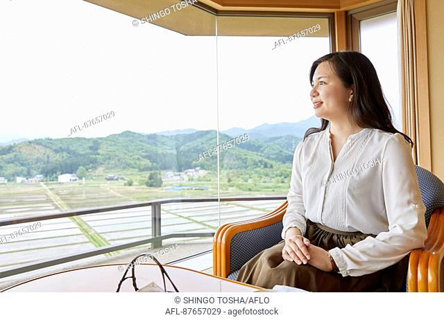 Japanese woman at a traditional hotel