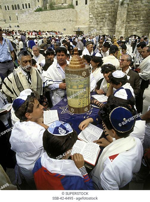 Group of people at a bar mitzvah, Wailing Wall, Jerusalem, Israel