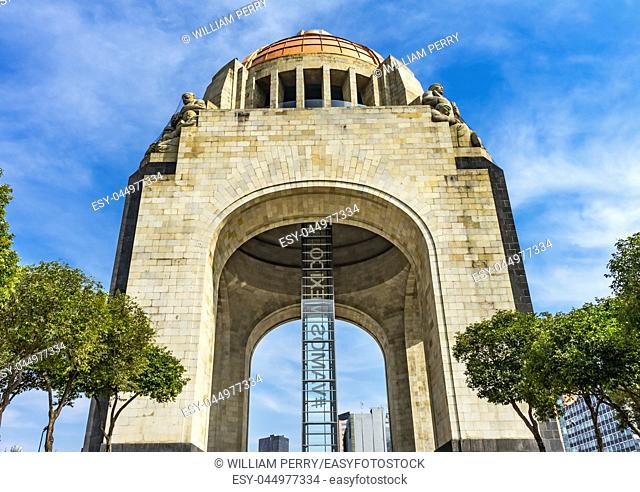 1910 Revolution Monument Mexico City Mexico. Built in 1932 with the remains of many Revolutionary heroes. The elevator sign says Go Mexico