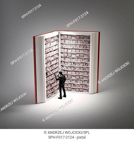 Bookshelves in book with human figure, conceptual illustration