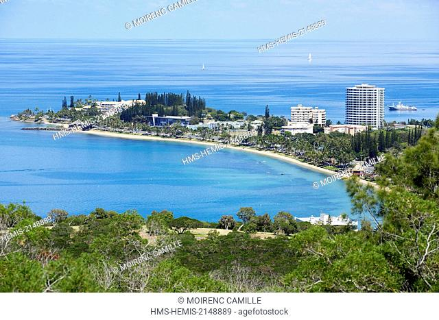 France, New Caledonia, Grande-Terre, Southern Province, Noumea, Anse Vata from the park Ouen Toro