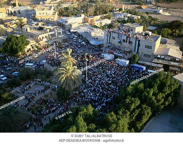 Aerial photo of a Palestinian rally in the city of Jericho