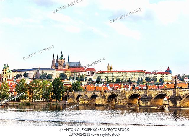 Charles Bridge and Lesser Town of Prague view