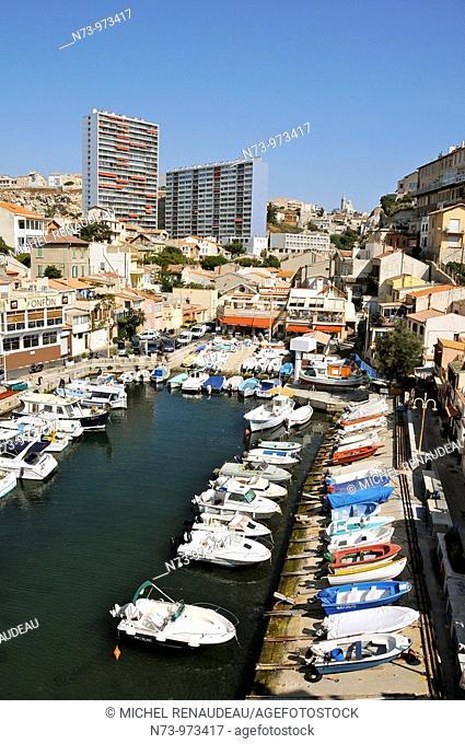 France, Marseille, Le Vallon des Auffes, petit port de pêche au coeur de la Ville