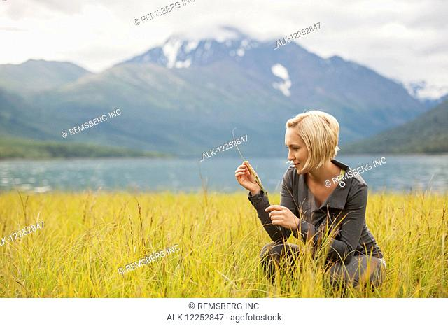 Woman examines marsh grasses by Eklutna Lake, Southcentral Alaska