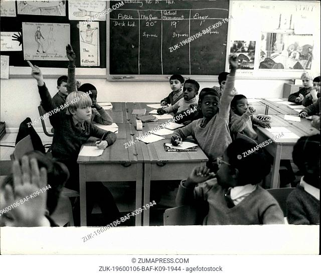1977 - Wolverhampton, England - School Integration in UK: Students at their desks in class. White and black child studying together at West Park School - only...