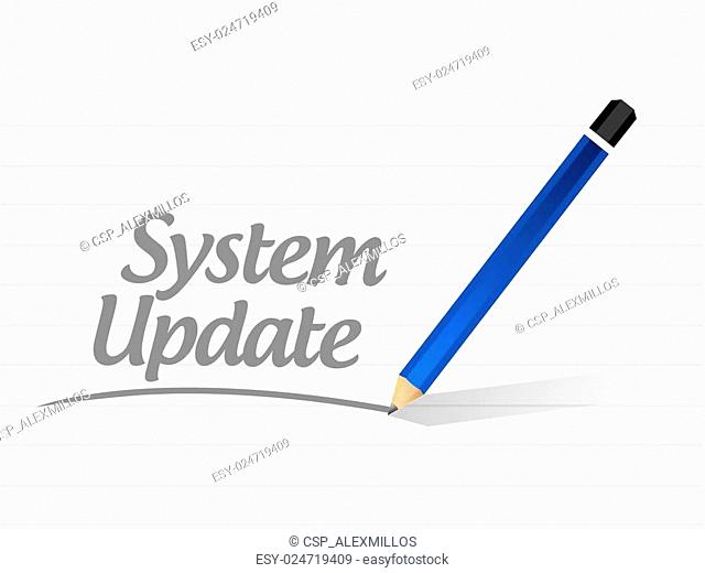 System update message sign concept