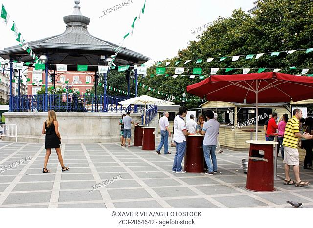 Place with kiosk, port city of Santander, Cantabria, Spain