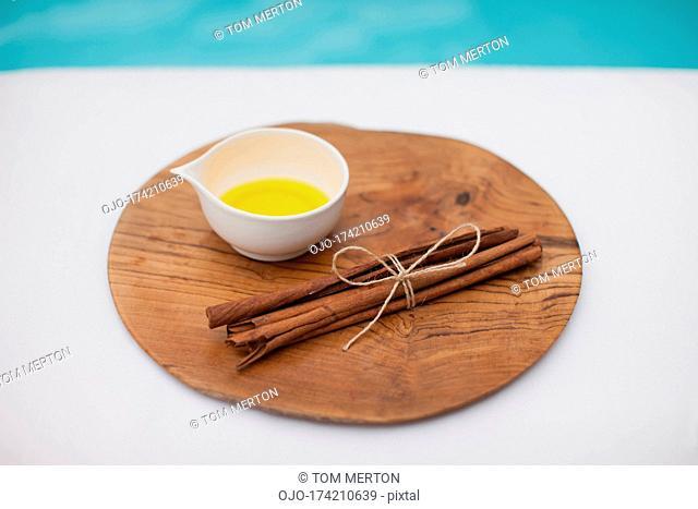 Massage oil at poolside