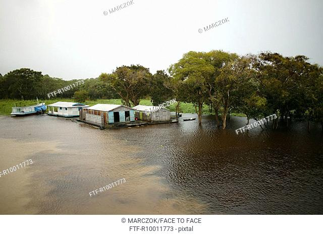 Swimming cottages on thr river, Rio Negro, Manaus, Brazil