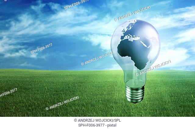 Green energy, conceptual computer artwork