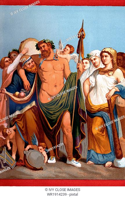 Painting of Heracles and Omphale, from a Pompeian wall painting. According to Greek mythology, Heracles was sold for a time to Omphale as her slave