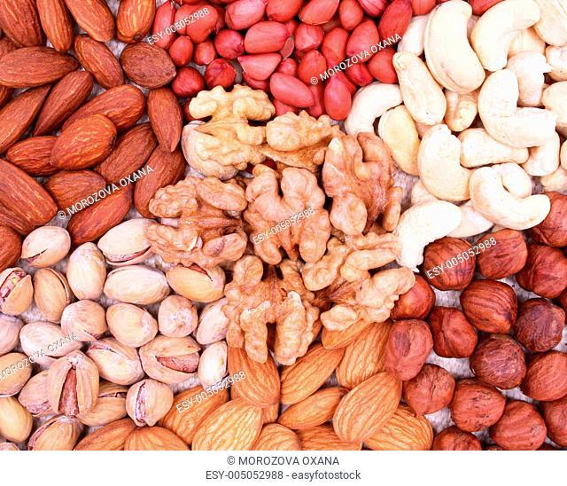 Assorted filbert, peanut, pistachios, walnut, almonds and hazeln