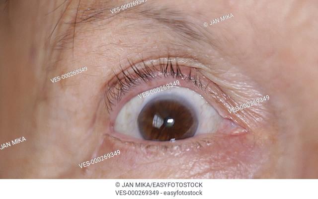 Macro of scared eye of senior female