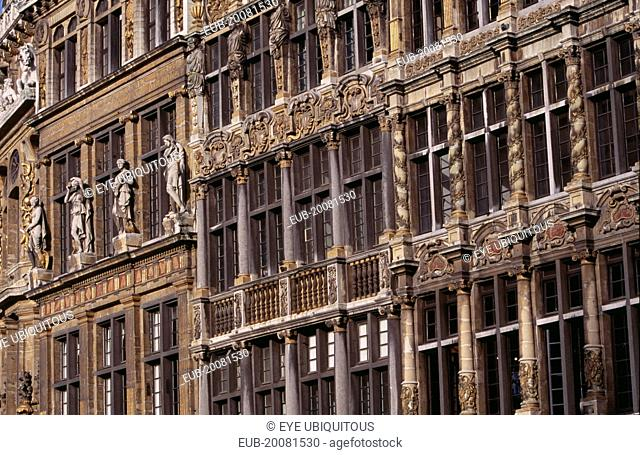 Grand Place. Detail of decorated facades of guild houses in the market square.UNESCO World Heritage Site