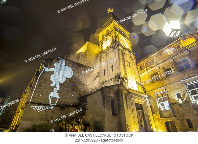 Nightscape in Sarlat la Caneda a beautiful medieval town and one of the highlights to a visit to the Dordogne Perigord France on December 6