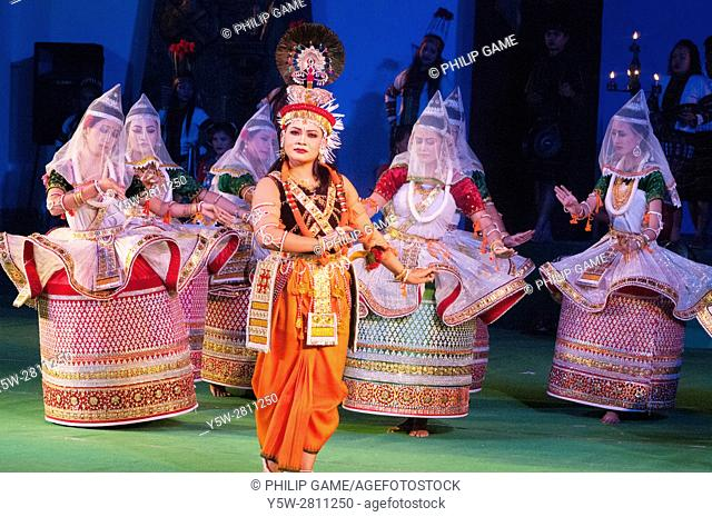 All-India dance troupe performing in 'Colours of NE India' at the Sangai Festival, Imphal, Manipur, India