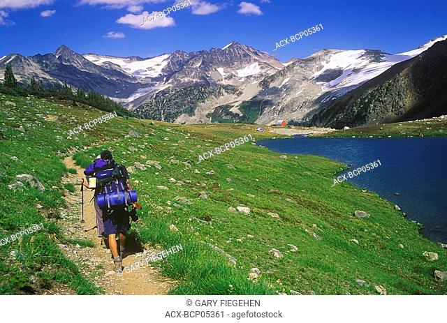 Hikers near Russet Lake, Garibaldi Provincial Park, British Columbia, Canada