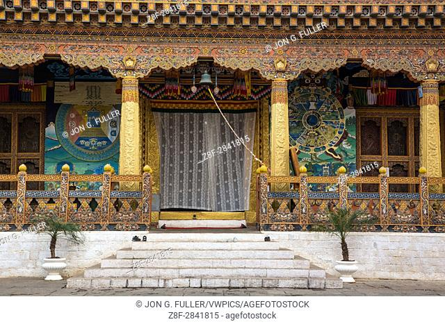 Ornate architectural detail of the Buddhist temple in the Punakha Dzong. Punakha, Bhutan