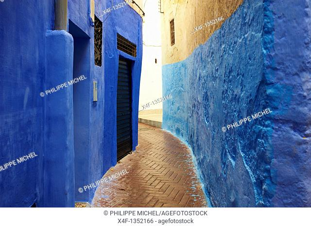 Morocco, Tangier Tanger, narrow street on the old city Medina