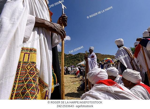 Christian religious ceremony at St. Neakutoleab Monestry near Lalibela. Ethiopia