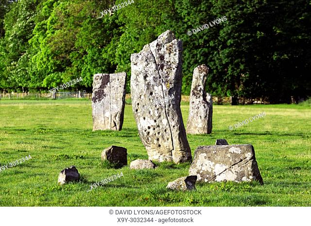 Cup and ring marks on south face of central stone of Nether Largie standing stones. Prehistoric rock art in Kilmartin Valley, Argyll, Scotland, UK